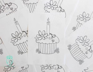 Colouring page for musical cupcakes