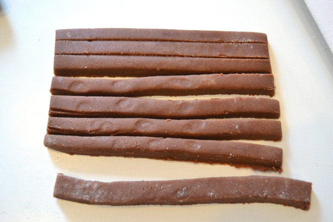 Biscuit dough cut into strips