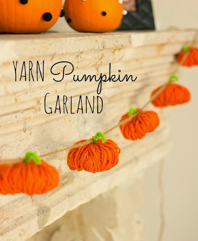 Yarn pumpkin garland
