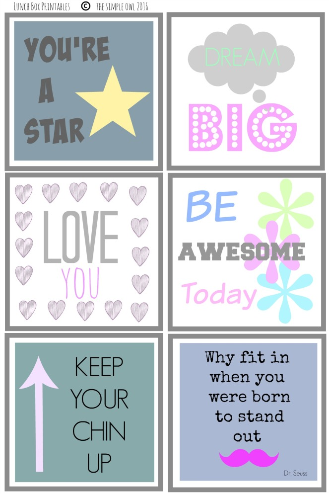 Lunch Box Printables No2 2016 Pastel
